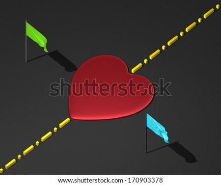 Red reflective heart on black textured surface with yellow boundary line and green and blue flags - stock photo