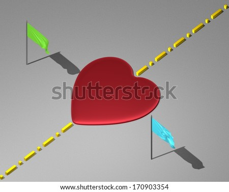 Red reflective heart on light grey textured surface with yellow boundary line and green and blue flags - stock photo