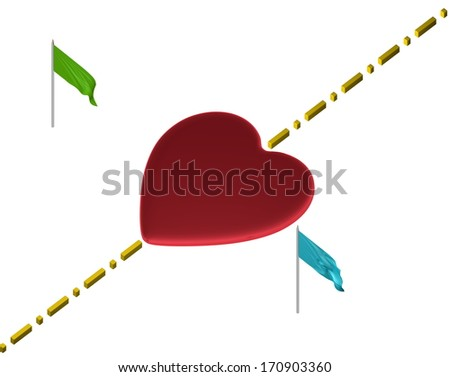 Red reflective heart with yellow boundary line and green and blue flags isolated on white - stock photo