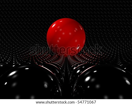 Red reflective sphere standing out among many smaller black spheres, 3D - stock photo