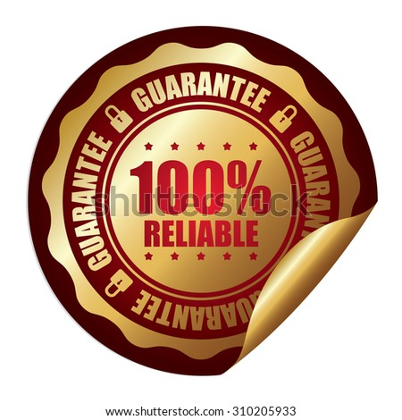 Red 100% Reliable Guarantee Infographics Peeling Sticker, Label, Icon, Sign or Badge Isolated on White Background