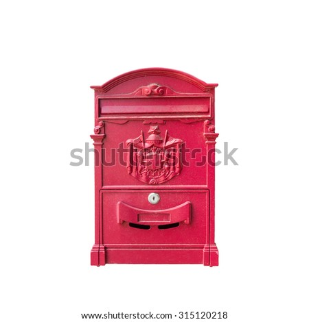 Red reproduction of wall mailbox - stock photo