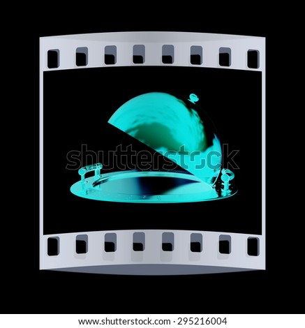 Red restaurant cloche isolated on black background. The film strip - stock photo