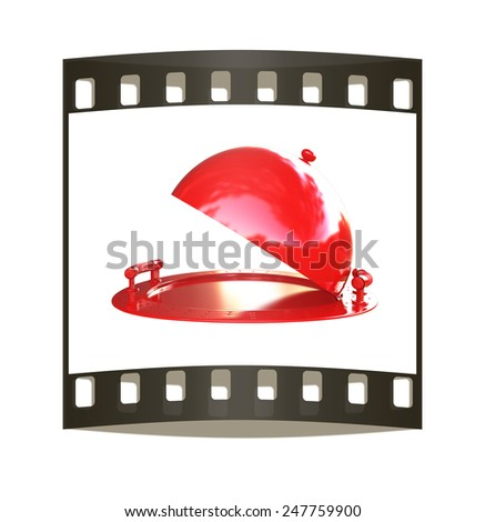Red restaurant cloche isolated on white background. The film strip - stock photo