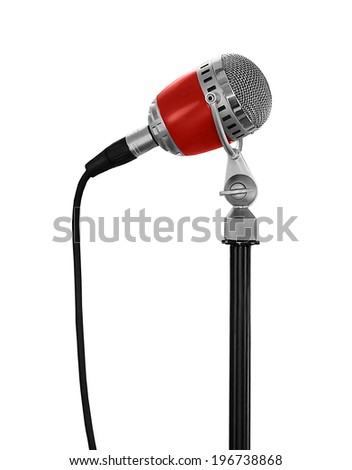 red retro microphone isolated on white background