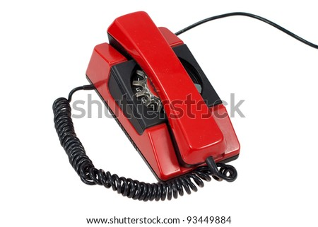 red retro phone isolated on a white - stock photo