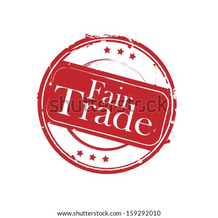 "Red retro round rubber stamp ""Fair Trade"" - stock photo"