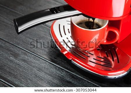 Red retro style coffee machine - stock photo