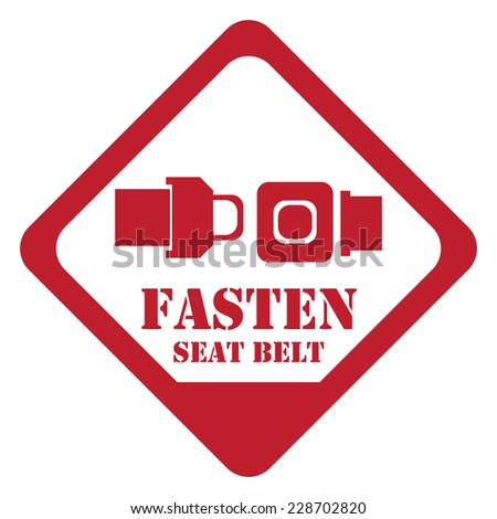 Red Rhombus Fasten Seat Belt Sign, Icon, Label or Sticker Isolated on White Background  - stock photo