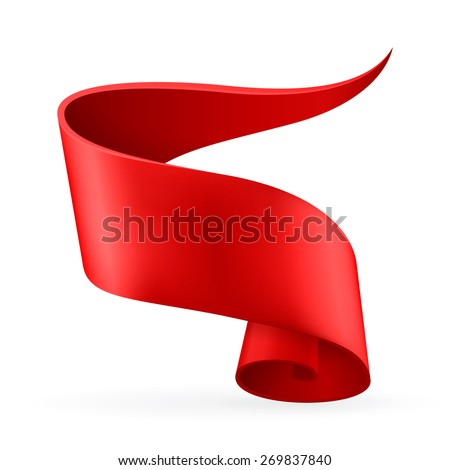 Red ribbon. Abstract scroll paper vector background. Design element. Ribbon banner. Isolated on a white background. Raster copy. - stock photo