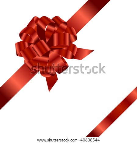 Red ribbon and bow isolated on white background. Vector background