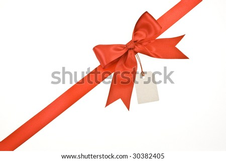 Red ribbon and bow with label isolated on white background