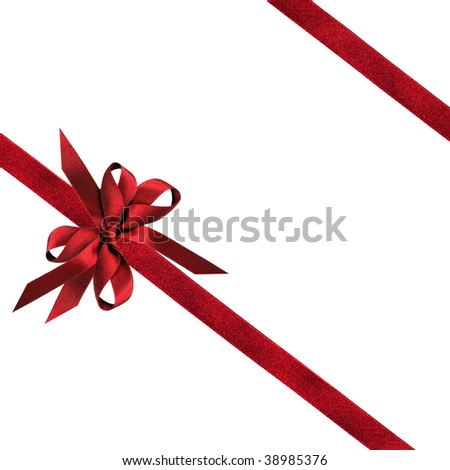 Red ribbon and bows, isolated over white background.