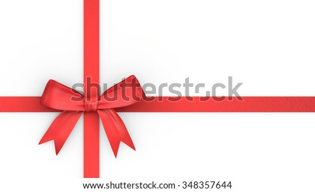 Red ribbon and knot for christmas gift - stock photo