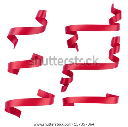 Red ribbon banner collection with path - stock photo