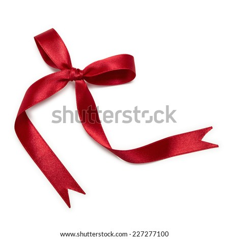Red Ribbon Bow - stock photo