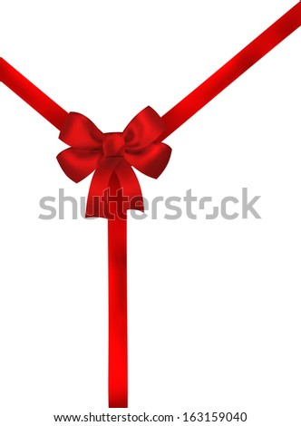 Red ribbon bow background on white