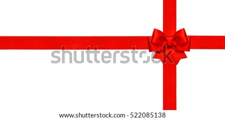 Red ribbon bow isolated on white background. Holidays decoration. Gift card concept.