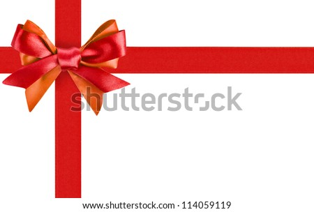 Red ribbon bow like a gift on white background