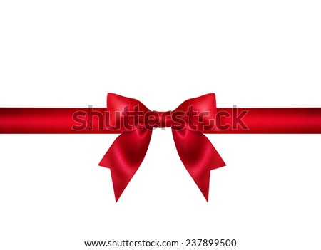 Red ribbon bow on white background. Design element greetings. Studio shot. Free space for text