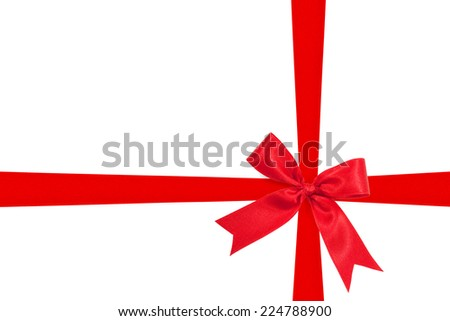 red ribbon bow on white background preparation for gift wrapping - stock photo