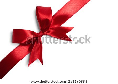Red ribbon bow on white background. studio shot