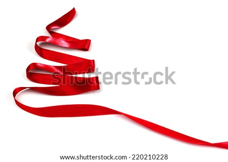 Red ribbon christmas tree isolated on white background