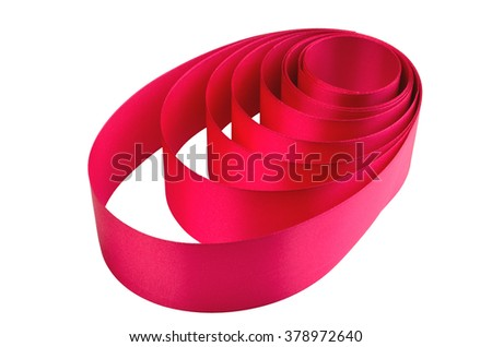 red ribbon circles isolated on white background. wedding. holiday concept. presentation of colored tape. bigotries. new Year. Valentine's Day.