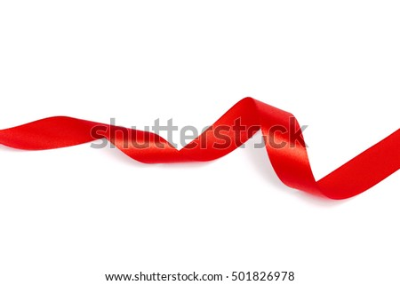 Red ribbon collection isolated on white