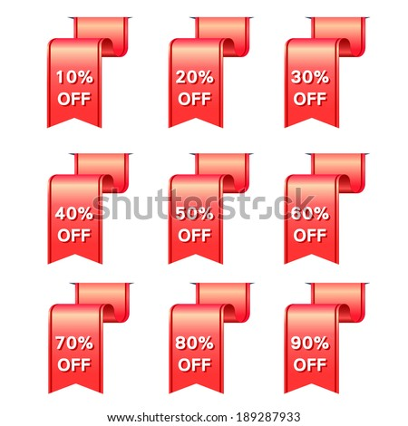 red ribbon discount label elements set