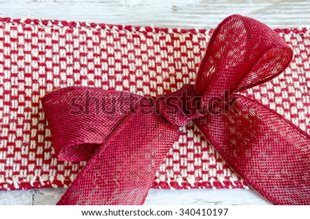 Red ribbon fabric to decorate gifts