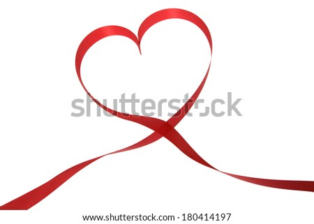 red ribbon forming shape of the heart
