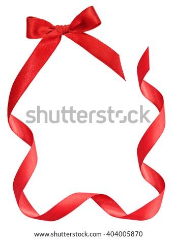 red ribbon frame on white background - stock photo