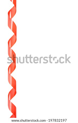 Red Ribbon from a roll on white background isolated