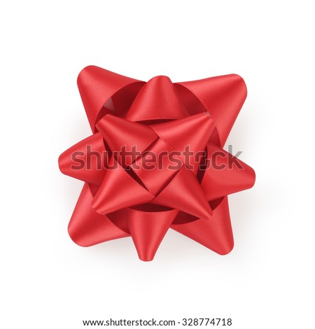 red ribbon gift bow isolated on white background - stock photo