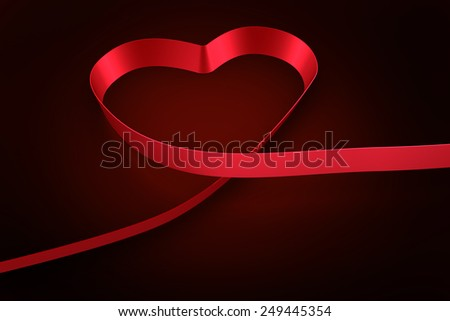 Red ribbon heart against red background with vignette