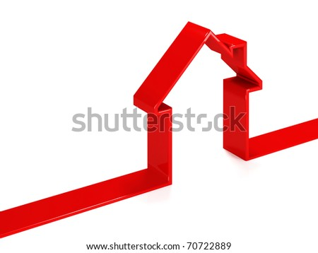 red ribbon house 3d on white background - stock photo