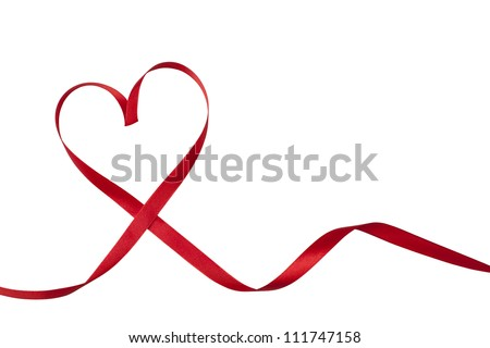 Red ribbon in heart shape - stock photo