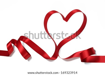 Red ribbon in heart shape,valentines concept.