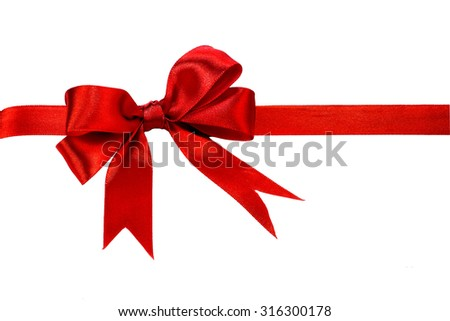 Red ribbon isolated on a white background - stock photo