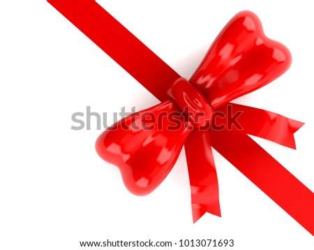 Red ribbon isolated on white background. 3d illustration