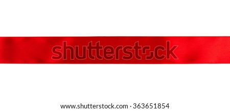 Red ribbon isolated over white background - stock photo