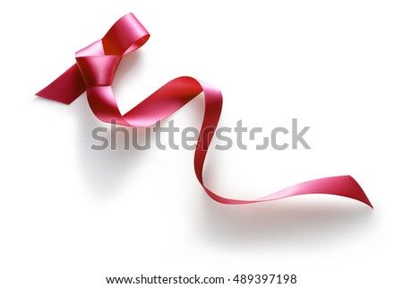 Red ribbon on a white background.