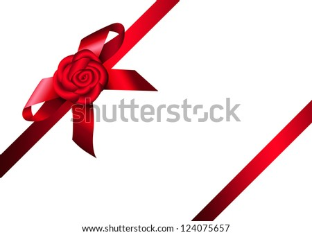 Red ribbon rose and bow. Design for gift, invitation card or present box.Raster illustration. Vector file included in portfolio