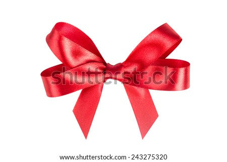 Red ribbon satin bows isolated on white - stock photo