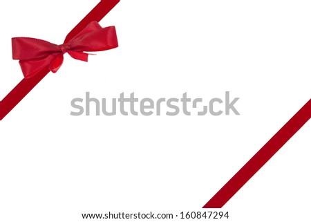 Red Ribbon with a bow for presents or greeting cards isolated on white background