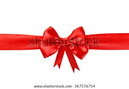 Red ribbon with a bow isolated on white - stock photo