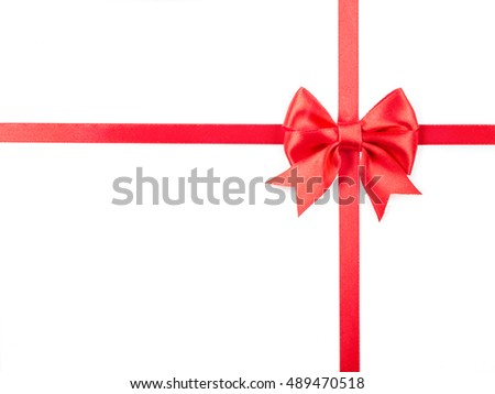 red ribbon with bow for packaging, isolated on white.