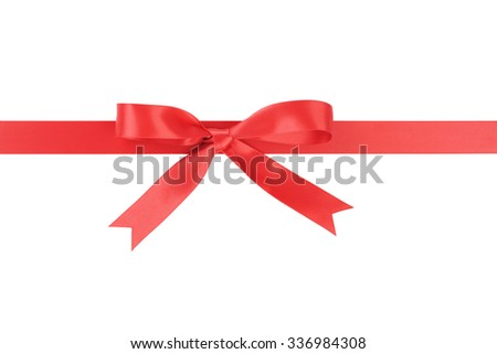 red ribbon with bow from above, isolated on white