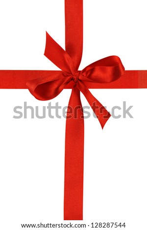 red ribbon with bow, isolated on white